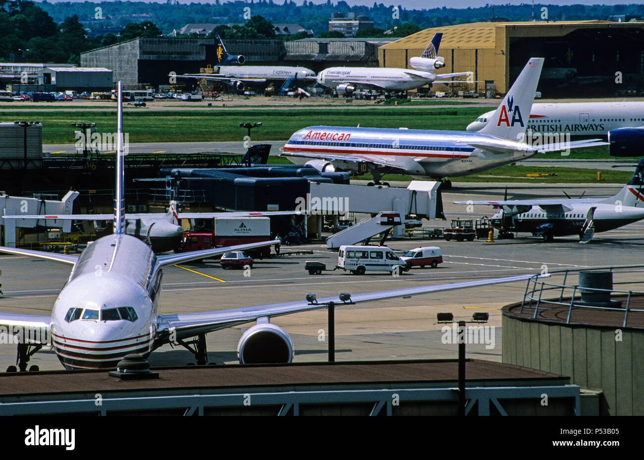 Aeroplanes, Gatwick Airport, West Sussex, England, UK, GB. - Stock Image
