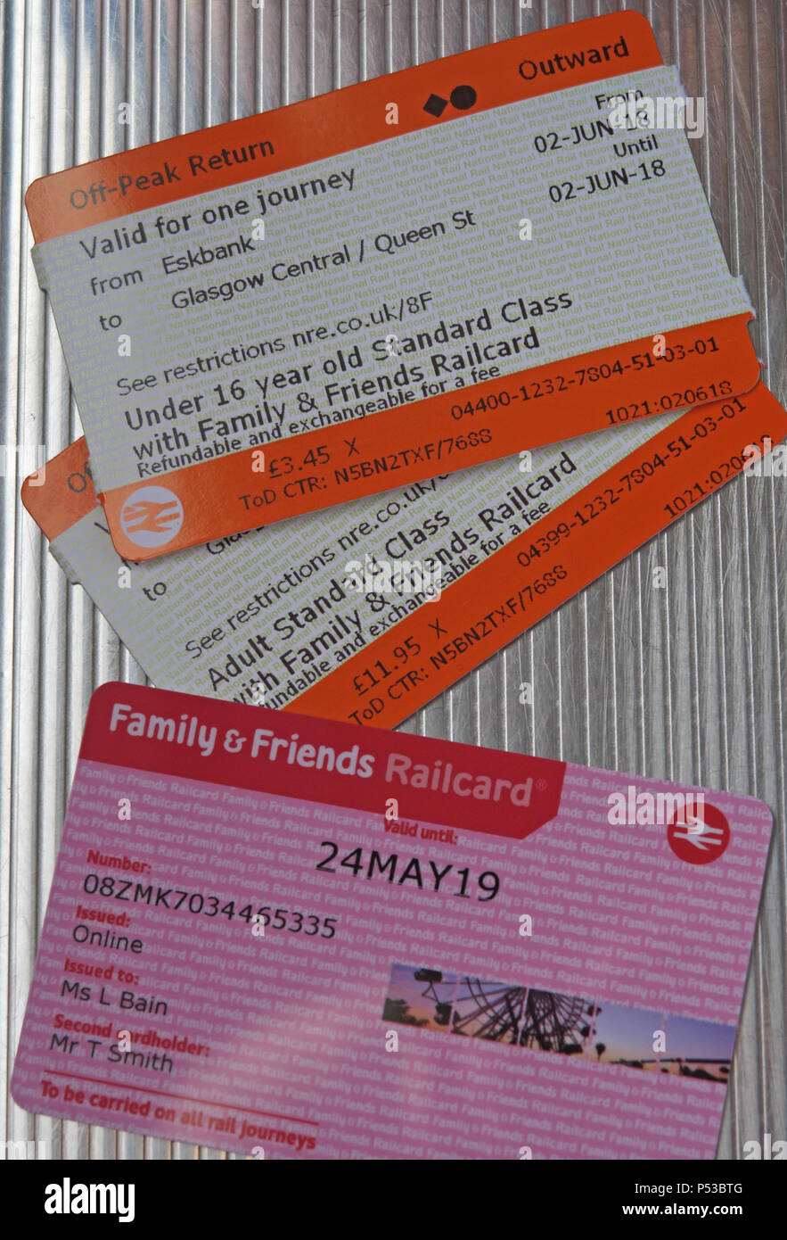 Friends & Family railcard and two Scotrail train tickets, Adult & Child, Eskbank, Midlothian, Borders Railway, Scotland, UK - Stock Image