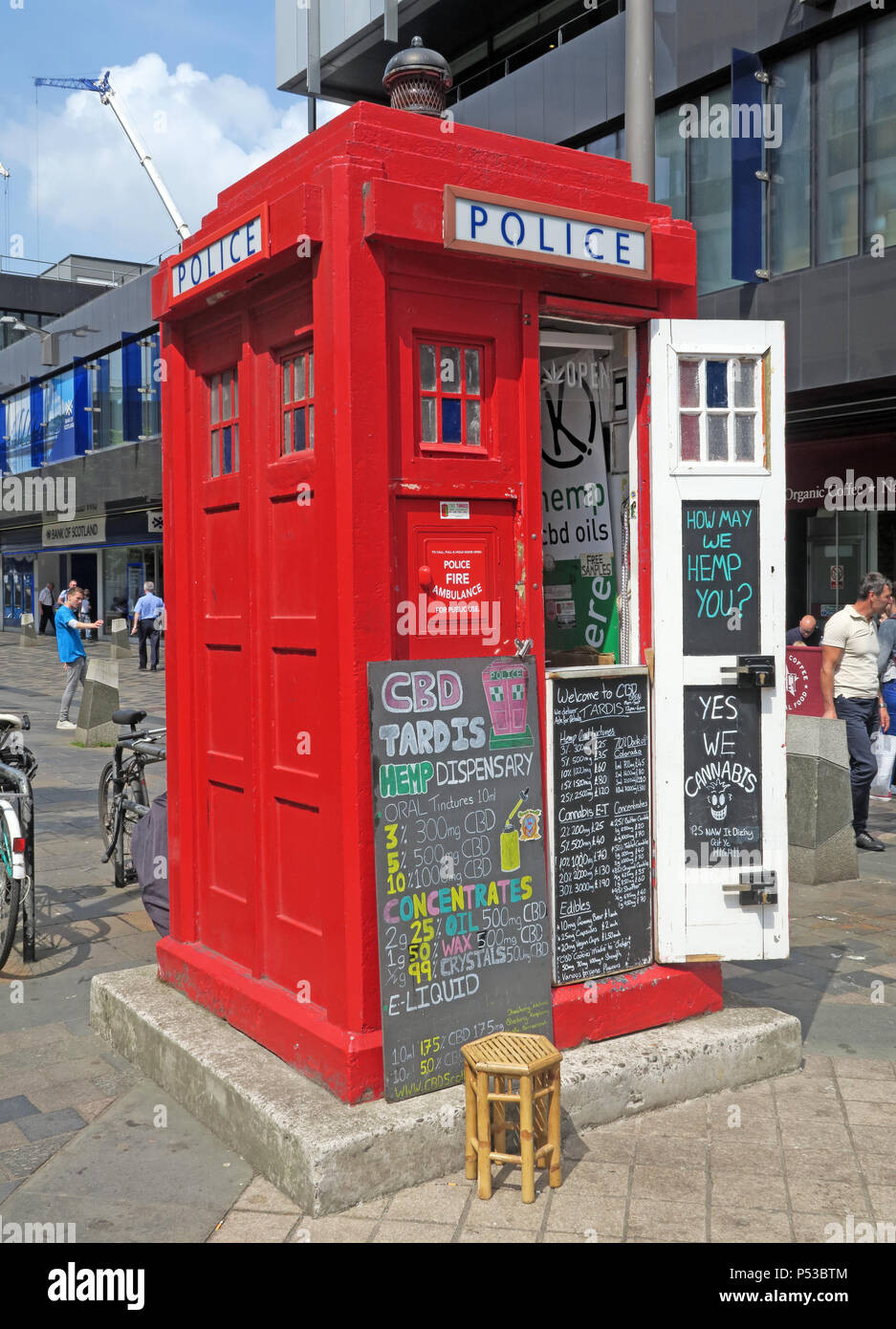 Legalise cannabis, the Chris Mackenzie CBD Hemp Dispensary red Tardis police box, Sauchiehall Street, Glasgow, Scotland UK - Stock Image