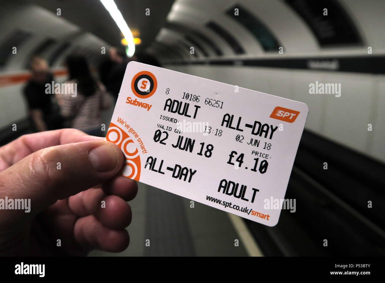 Glasgow subway All Day Smartcard, SPT underground railway, city centre train / railway, Strathclyde, Scotland, UK - Stock Image
