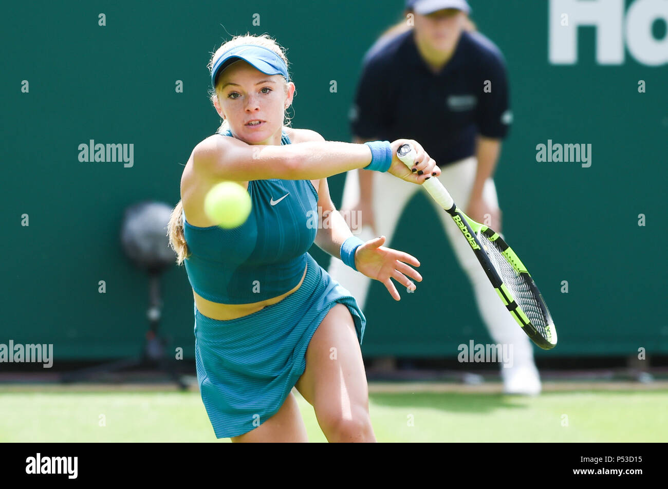 Katie Swan of Great Britain plays a shot in her first round match against Danielle Collins of USA during the Nature Valley International tennis tournament at Devonshire Park in Eastbourne East Sussex UK. 24 June 2018 Stock Photo