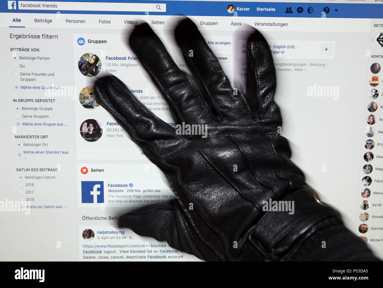 Symbolic picture on the topic of tha Facebook scandal with Cambridge Analytica - Stock Image