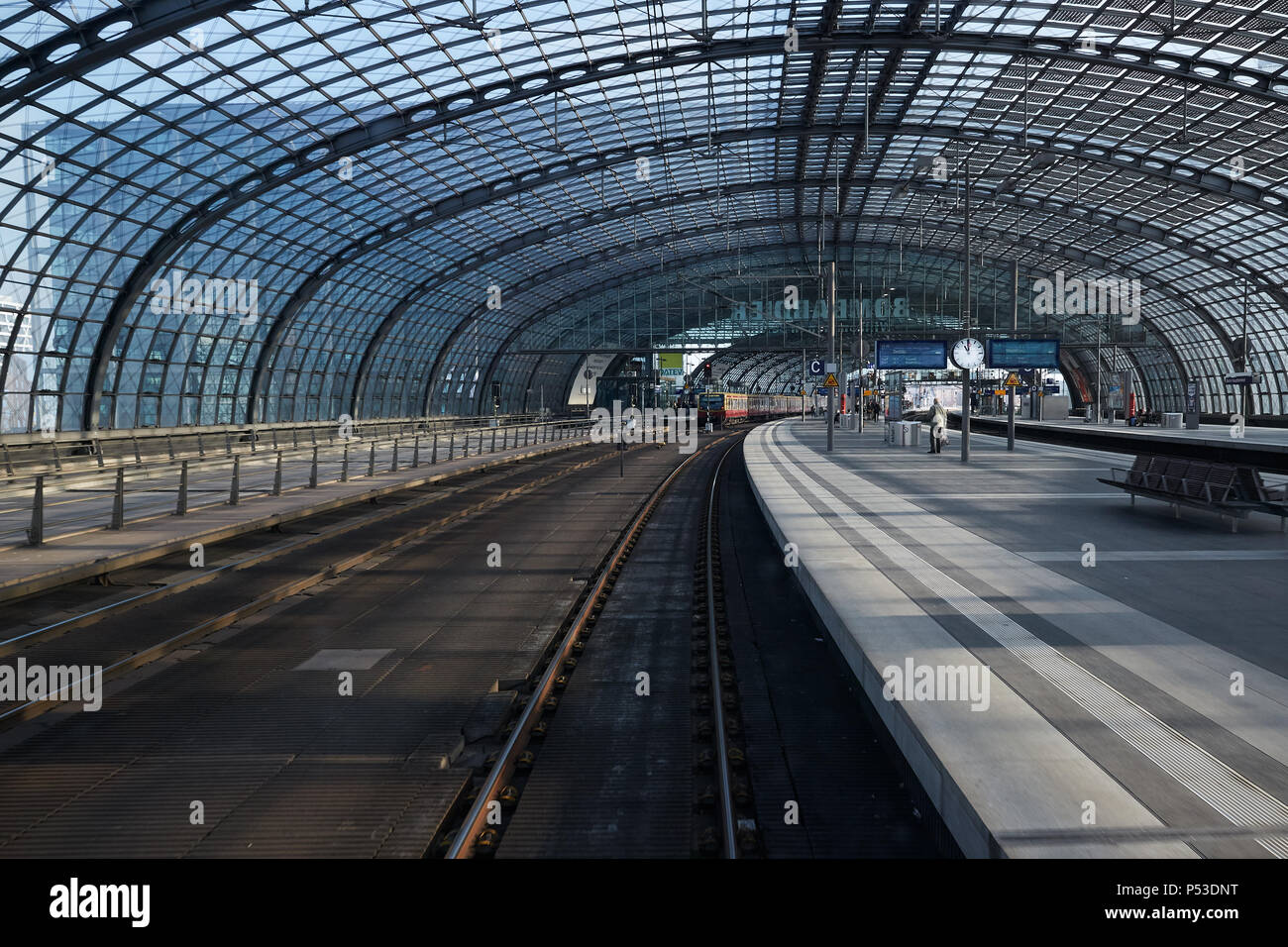 Berlin, Germany - View from the driver's station of a regional train at Berlin main station at the station crossing. - Stock Image