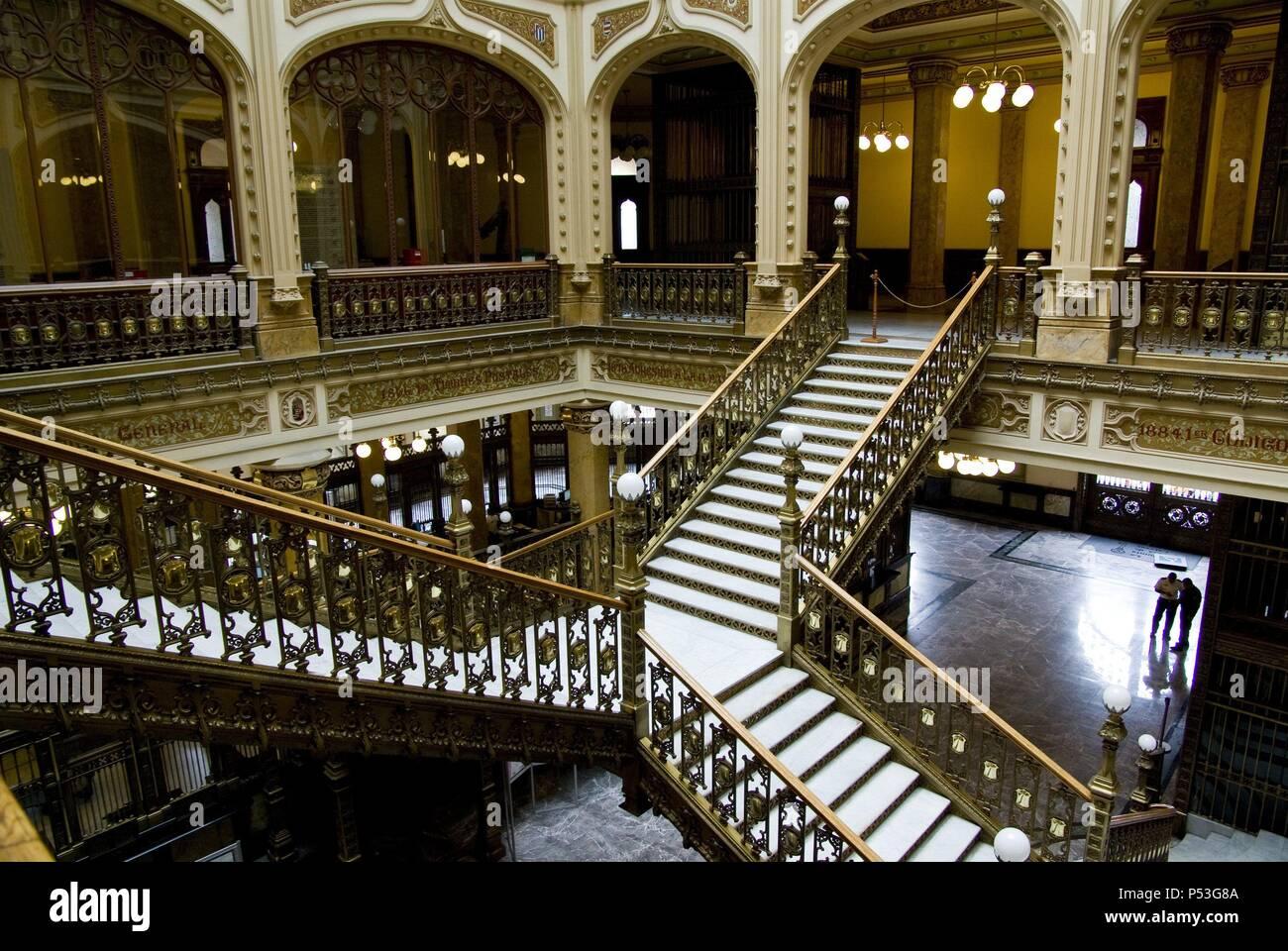 Mexico.Mexico city .Postal Palace (1907) work of Porfiriato.Italian architec Adamo Boari and mexican architec Gonzalez Garita.. - Stock Image