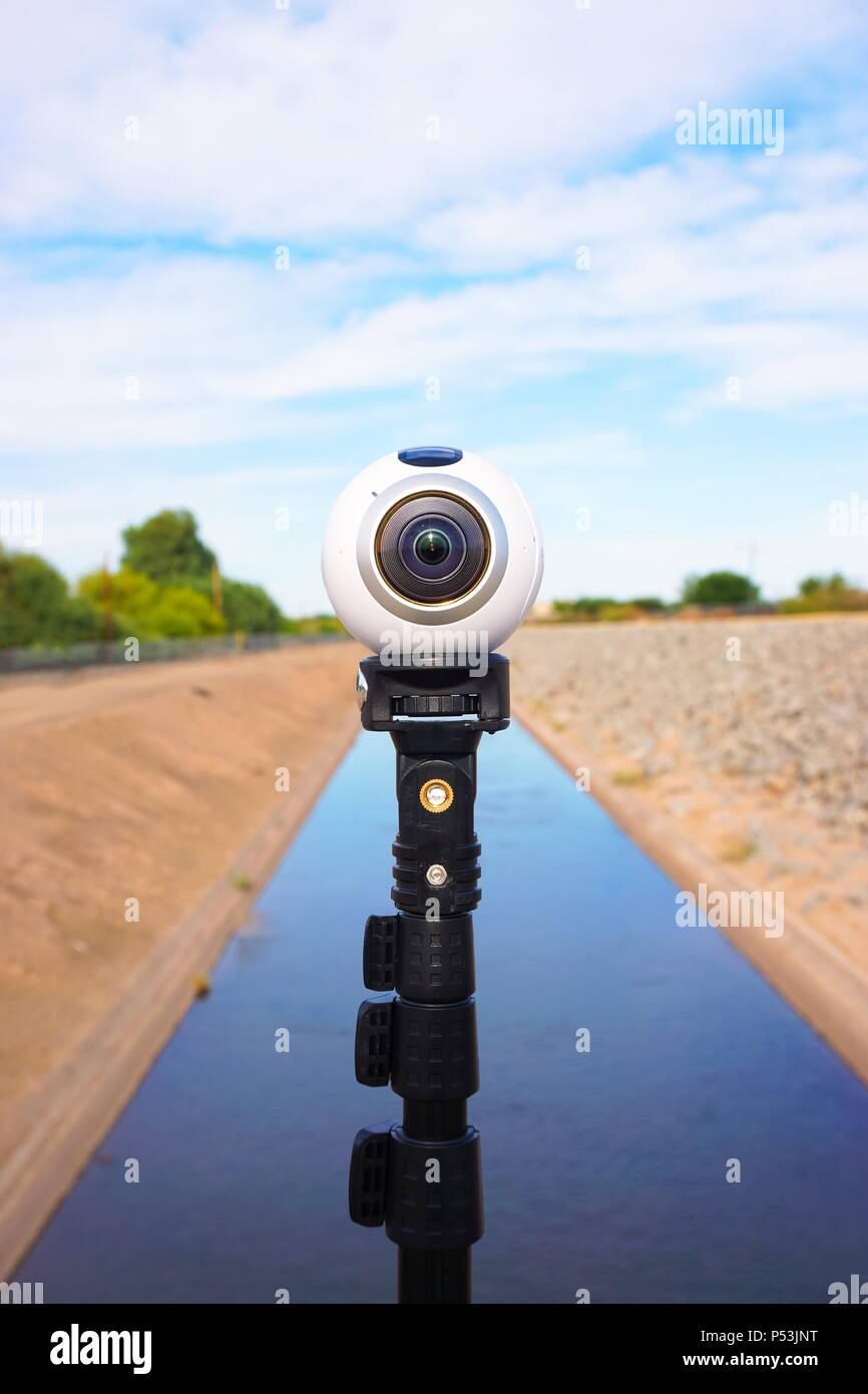Virtual Reality 360 degree camera mounted on monopod - Stock Image