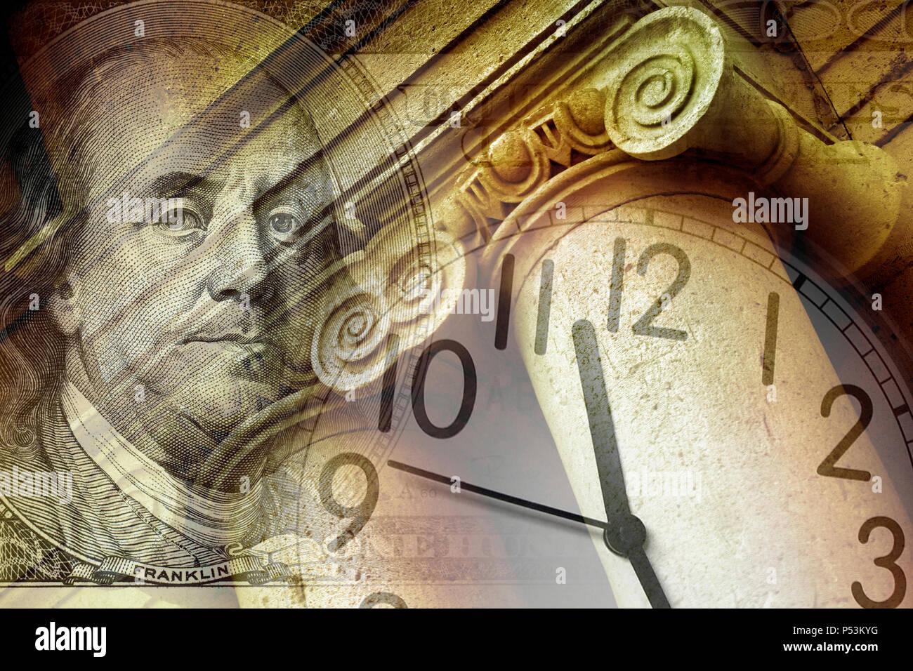 conceptual image of a clock on dollar bill and column - Stock Image