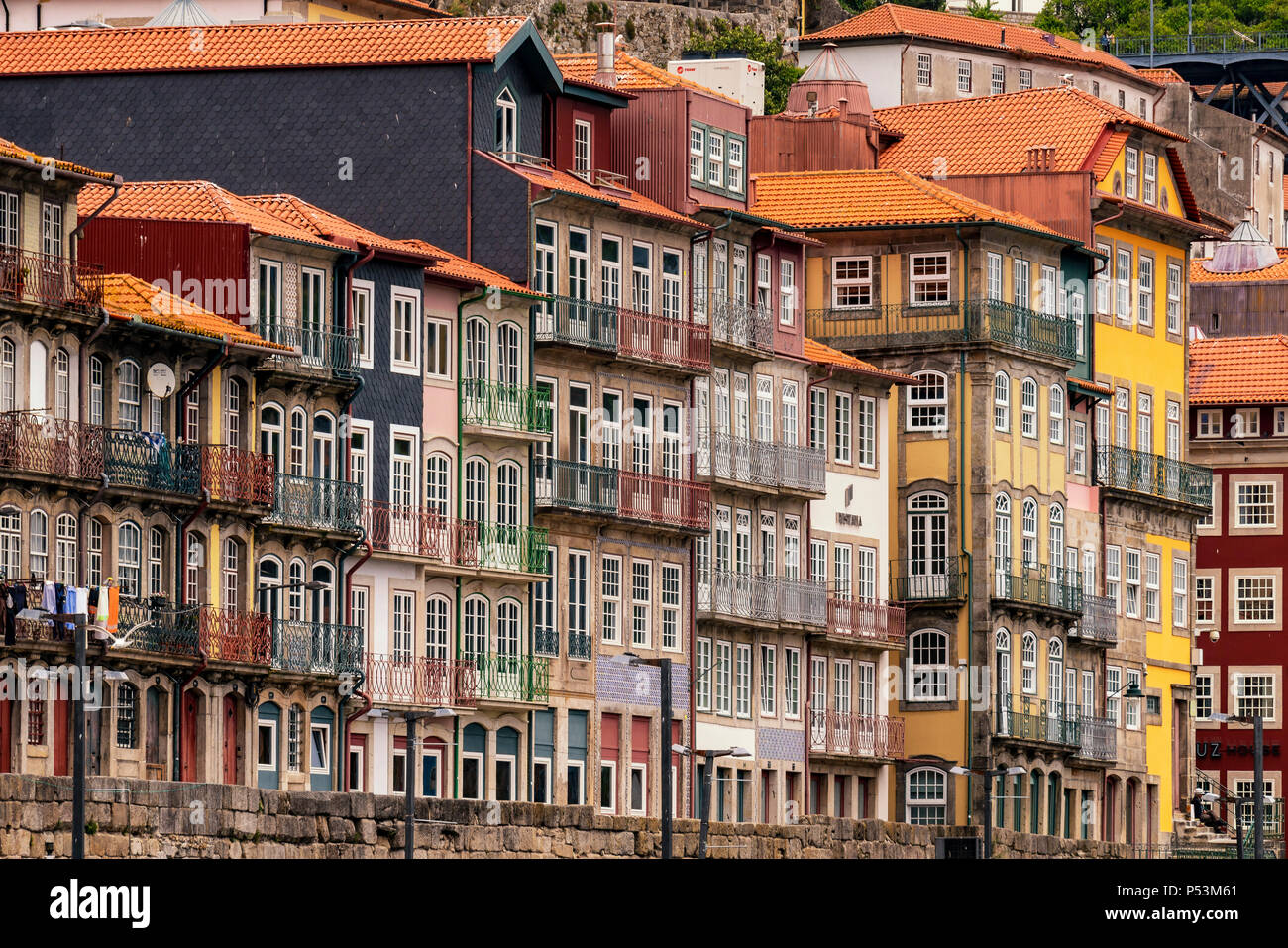 Old residential  buildings in Ribeira historic district , Porto, Portugal - Stock Image