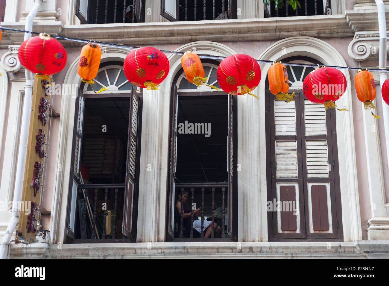 Singapore, Republic of Singapore, Traditional building in Chinatown Stock Photo