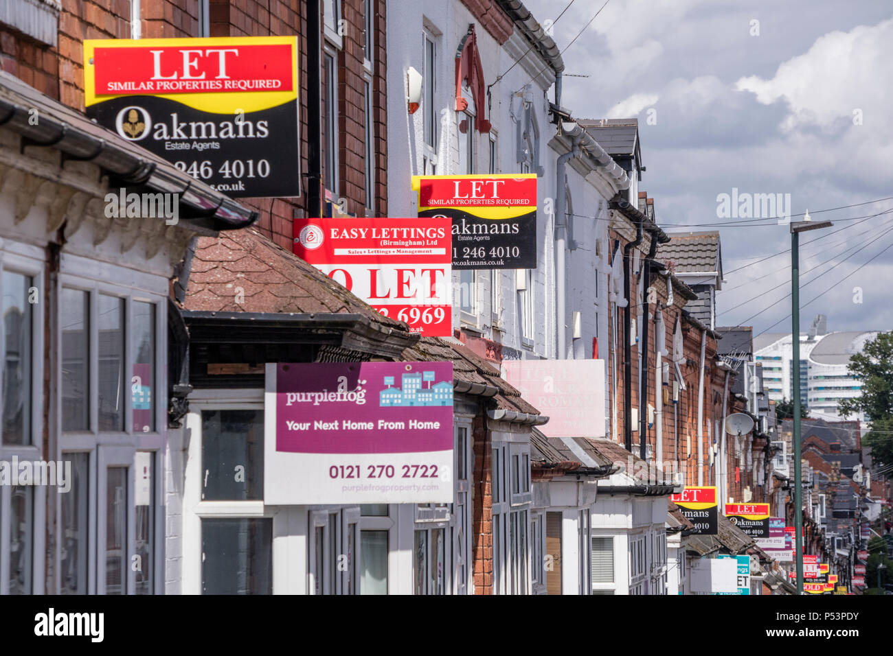 Properties to let in Selly Oak, a popular location for students at Birmingham University, Birmingham, UK - Stock Image