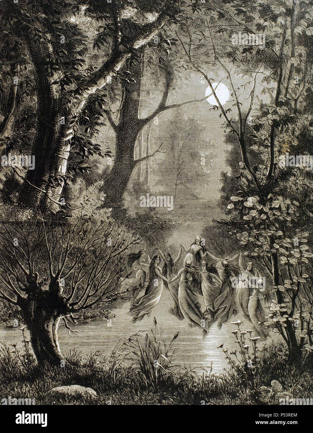 Spirits of nature. Undines in a circle over the water of a river. Engraving of The Illustration, 1885. - Stock Image