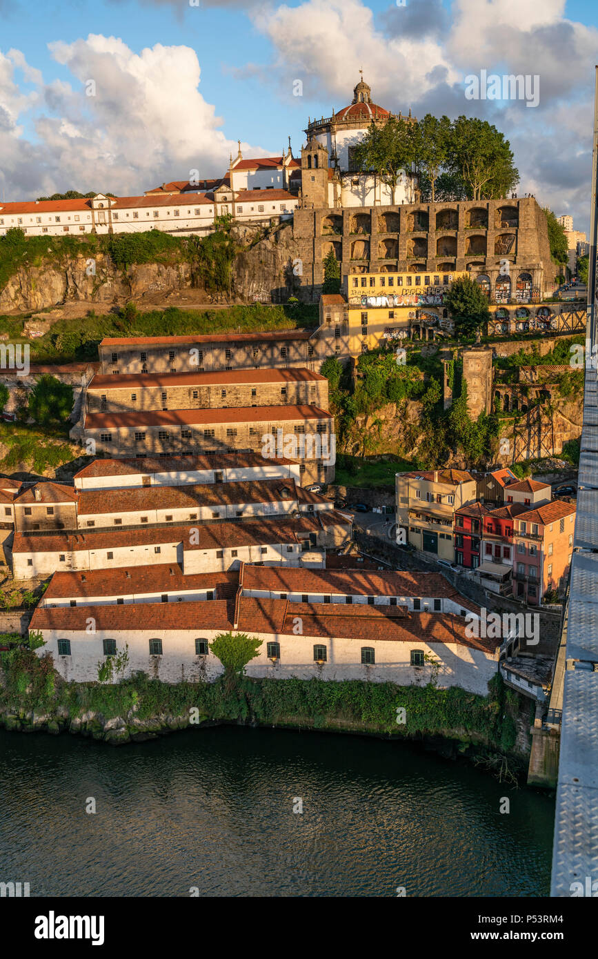 View from Dom Louis I bridge over Douro river, Mosteiro da Serra do Pilar, Monastry in the background, Porto, Portugal Porto, Portugal - Stock Image