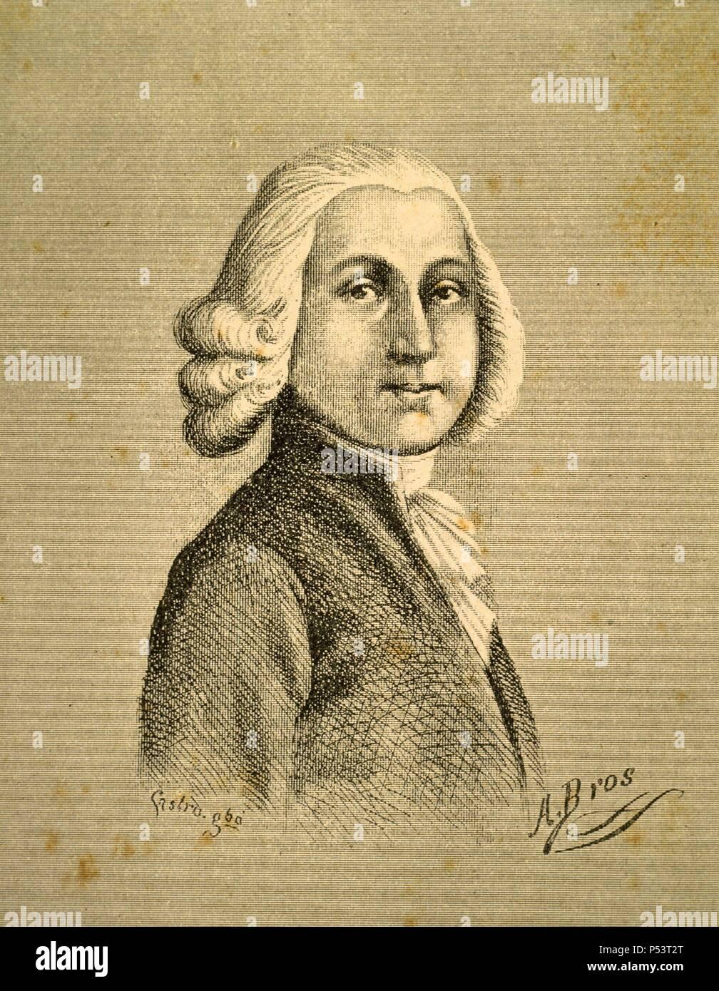 Luigi Boccherini (1743-1805). Violencelista y compositor italiano. Grabado  de 1893.