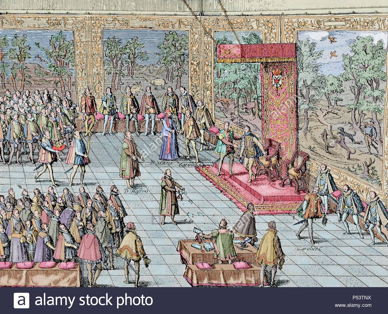 Charles I of Spain and V of Germany (1500-1558). King of Spain (1517-1556) and Emperor of Germany (1519-1556). First Spanish monarch of the House of Austria. Son of Philip the Handsome and Joanna the Mad. Abdication of Charles V in Brussels, on 25 October 1555, to his son Philip II of Spain. Colored engraving. - Stock Image