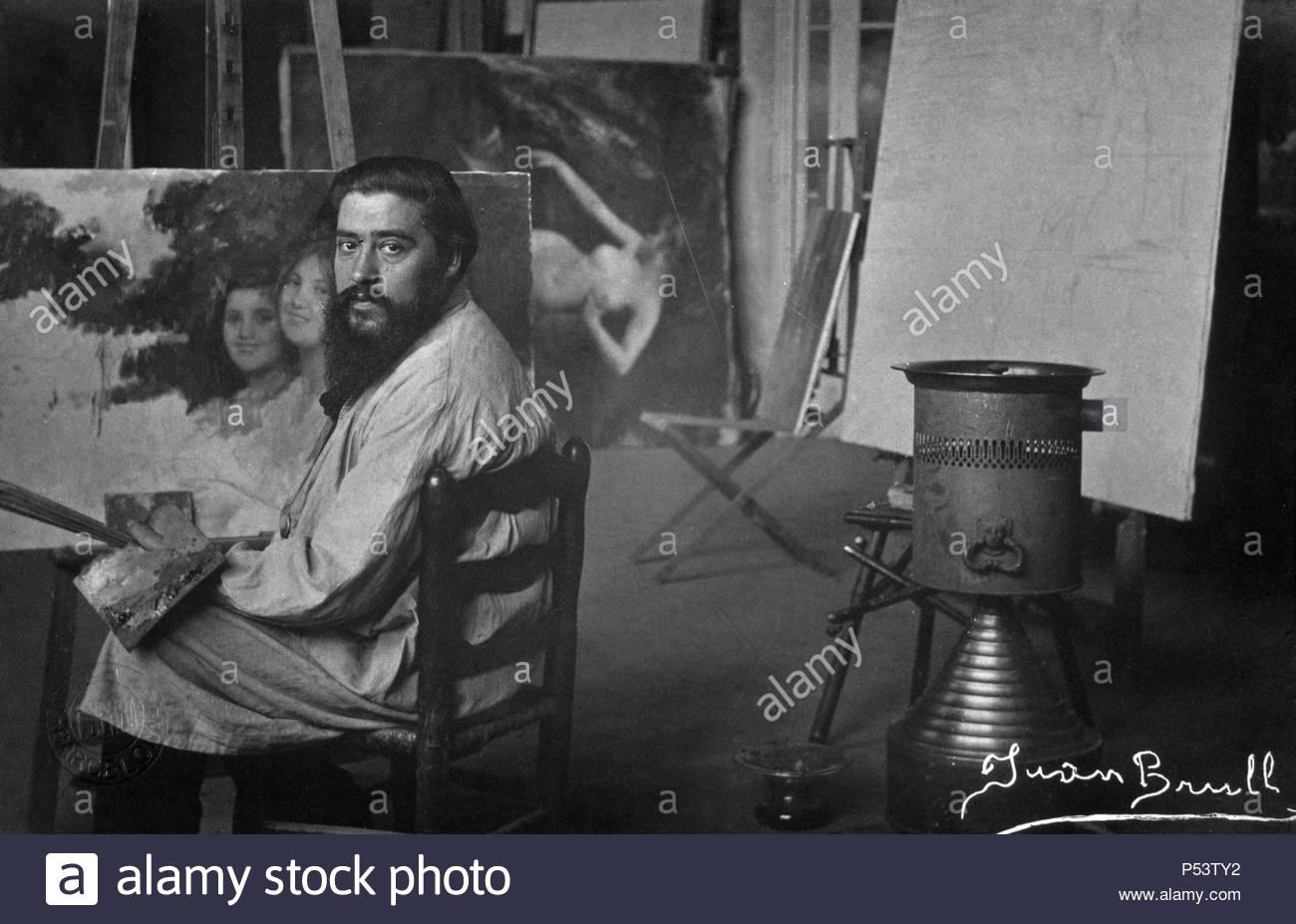 Joan Brull i Vinyoles, pintor catalán de finales del siglo XIX, representante del simbolismo catalán. - Stock Image