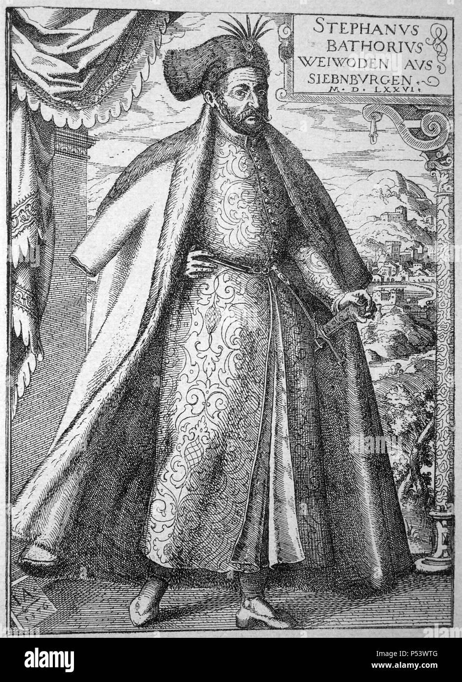 El conde Esteban I Báthory de Somlya (1533-1586), noble húngaro, Príncipe de Transilvania y rey de Polonia. - Stock Image