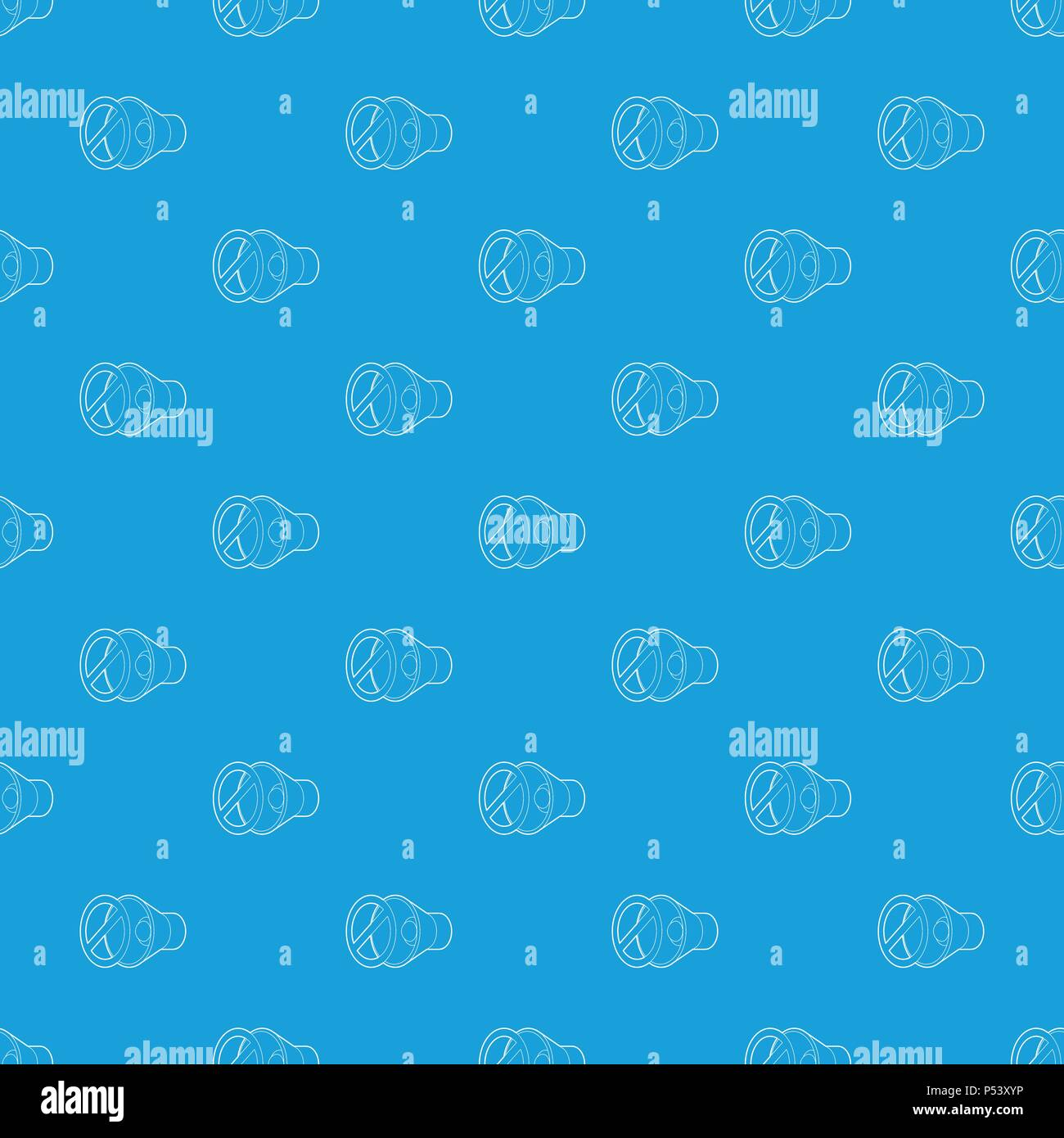 No sound, mute pattern vector seamless blue Stock Vector