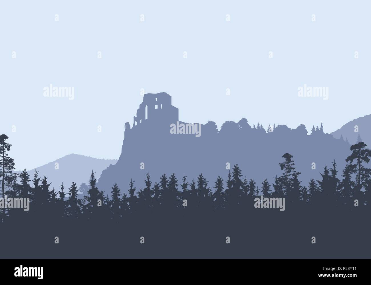 Ruins of a medieval castle on a high rock, between hills and forests - vector, Strecno - Slovakia - Stock Vector