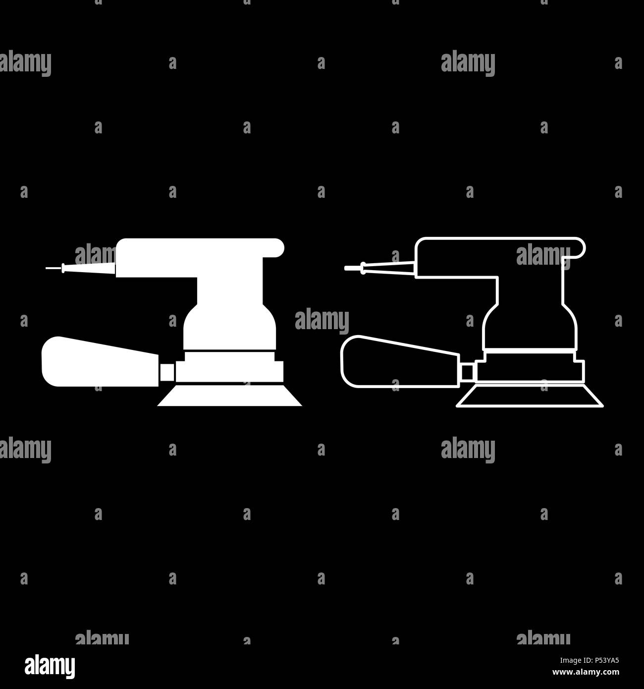 Eccentric grinder icon set white color vector I flat style simple image - Stock Vector