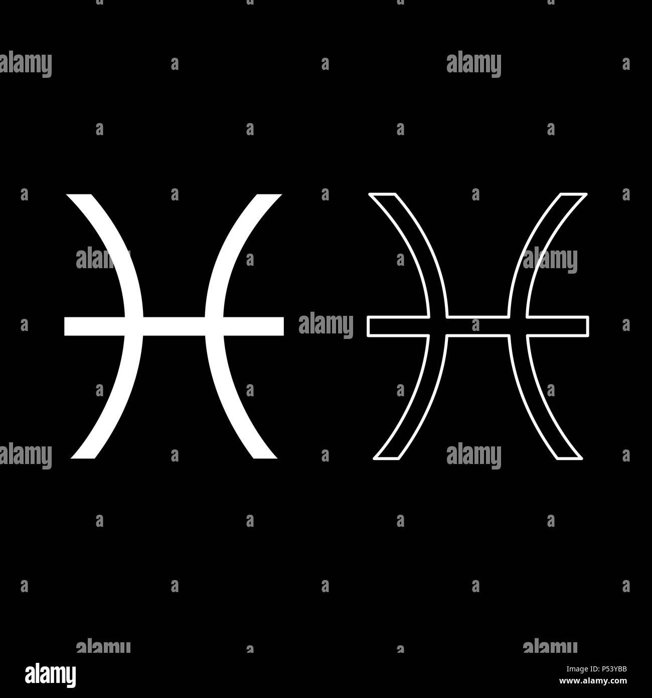Pisces symbol zodiac icon set white color vector I flat style simple image - Stock Image