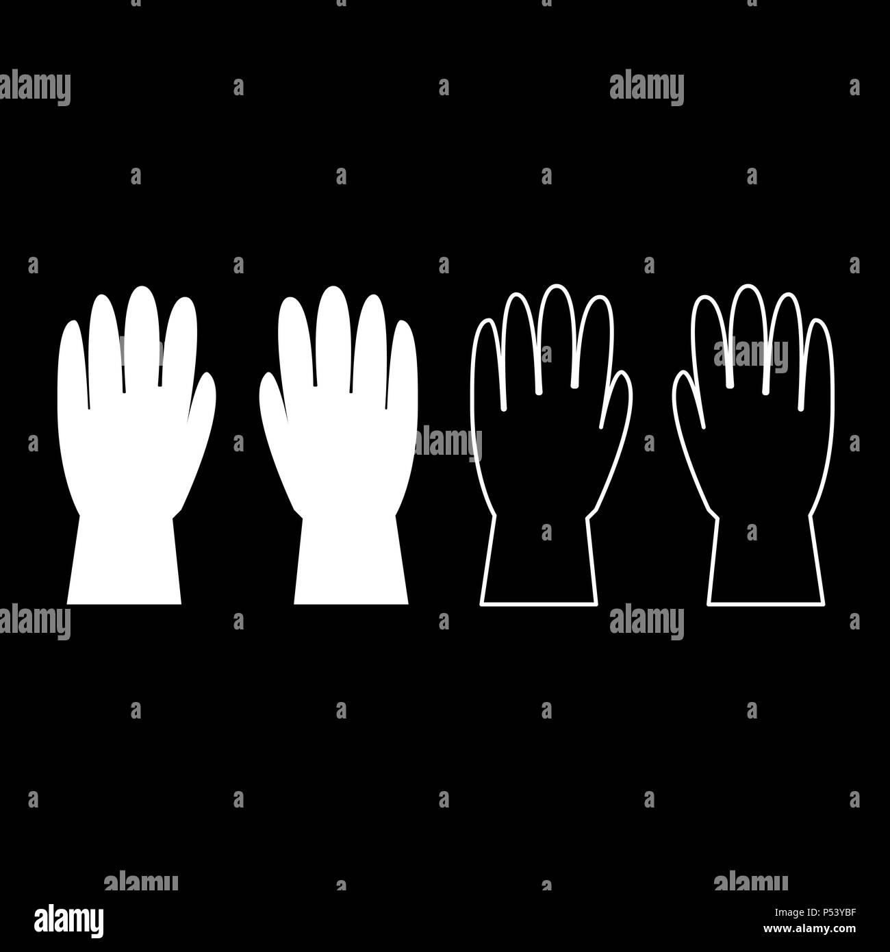 Working gloves icon set white color vector I flat style simple image Stock Vector