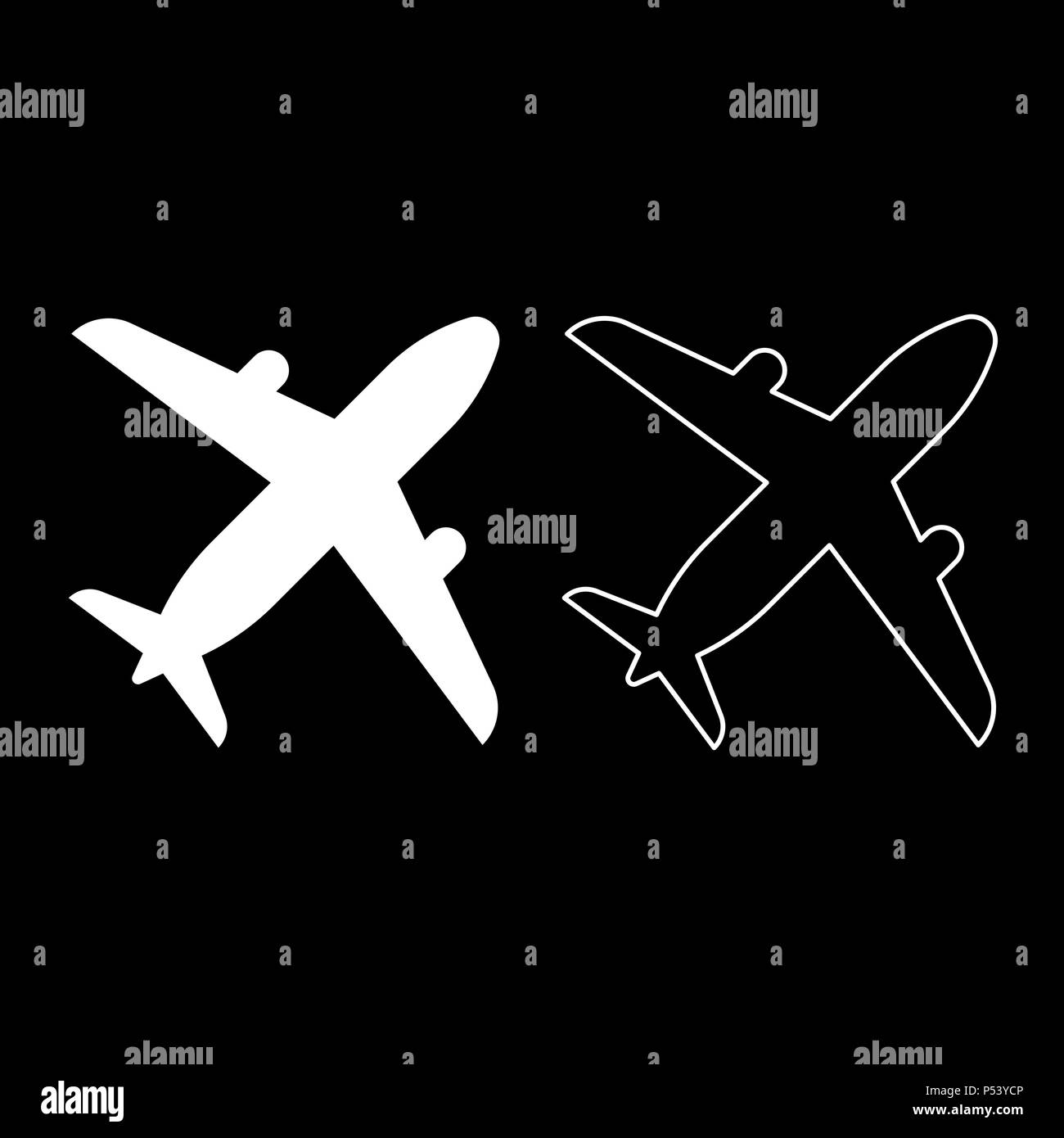 Airplane icon set white color vector I flat style simple image - Stock Image