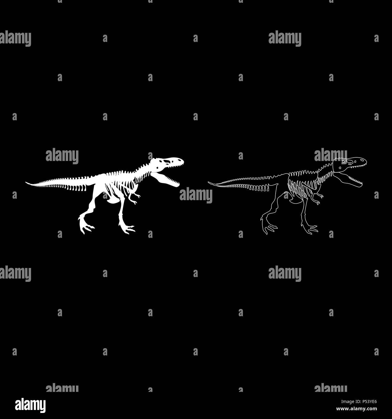 Dinosaur skeleton T rex icon set white color vector I flat style simple image - Stock Image