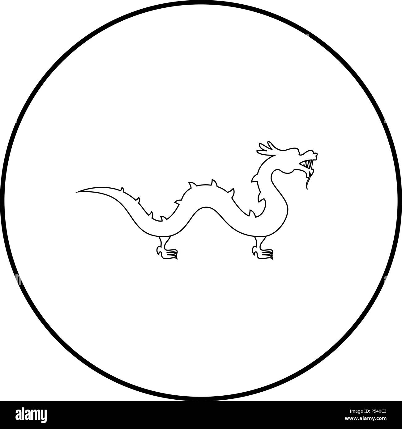 Chinese dragon icon black color in circle round outline - Stock Image