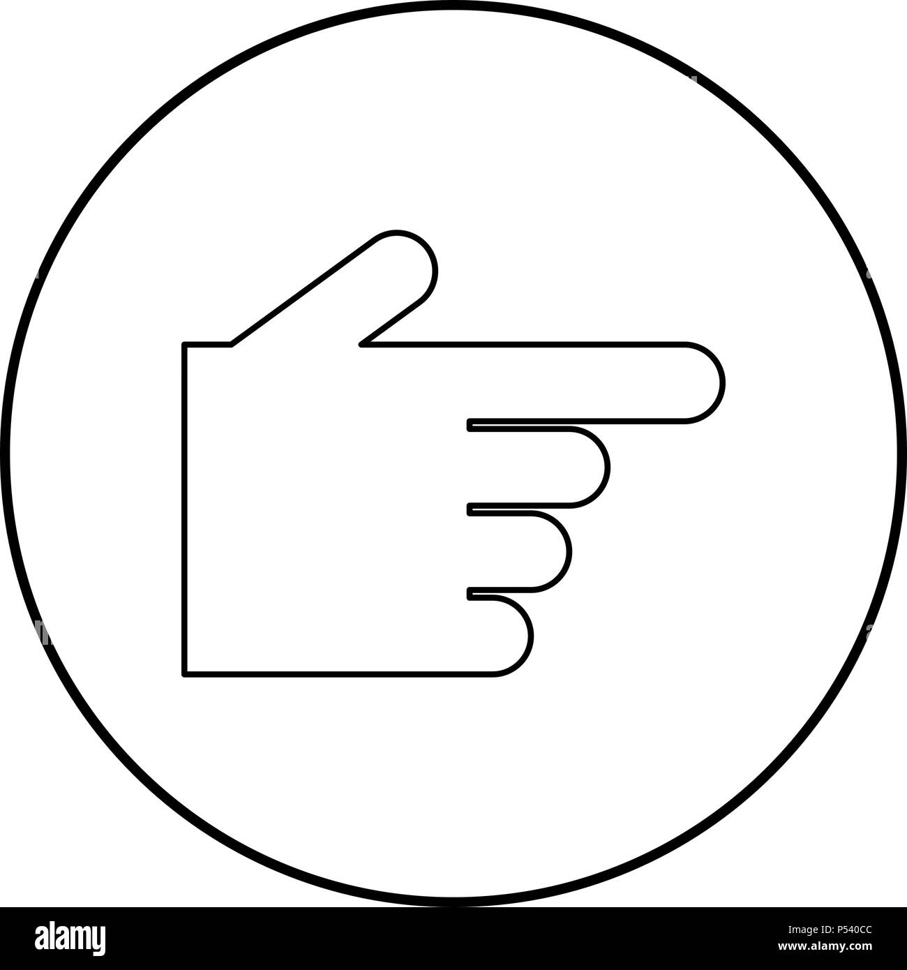 Pointing hand icon black color in circle round outline - Stock Image