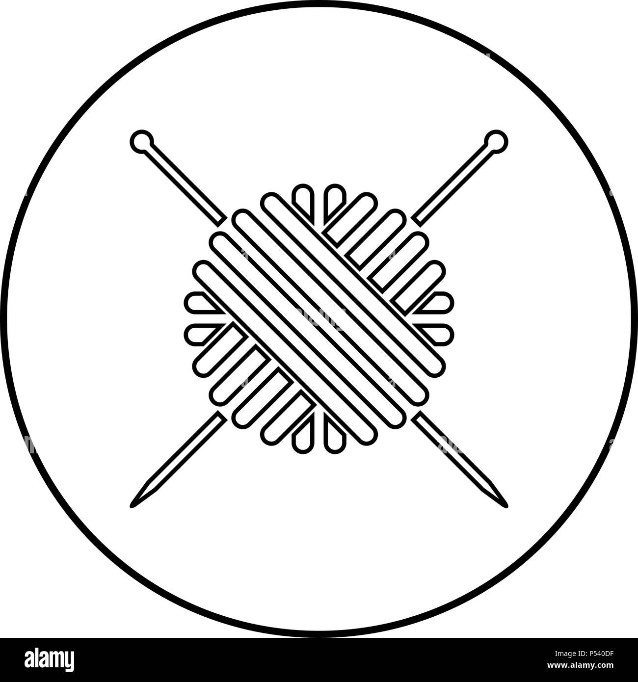 Ball of wool yarn and knitting needles icon black color in circle round outline - Stock Vector