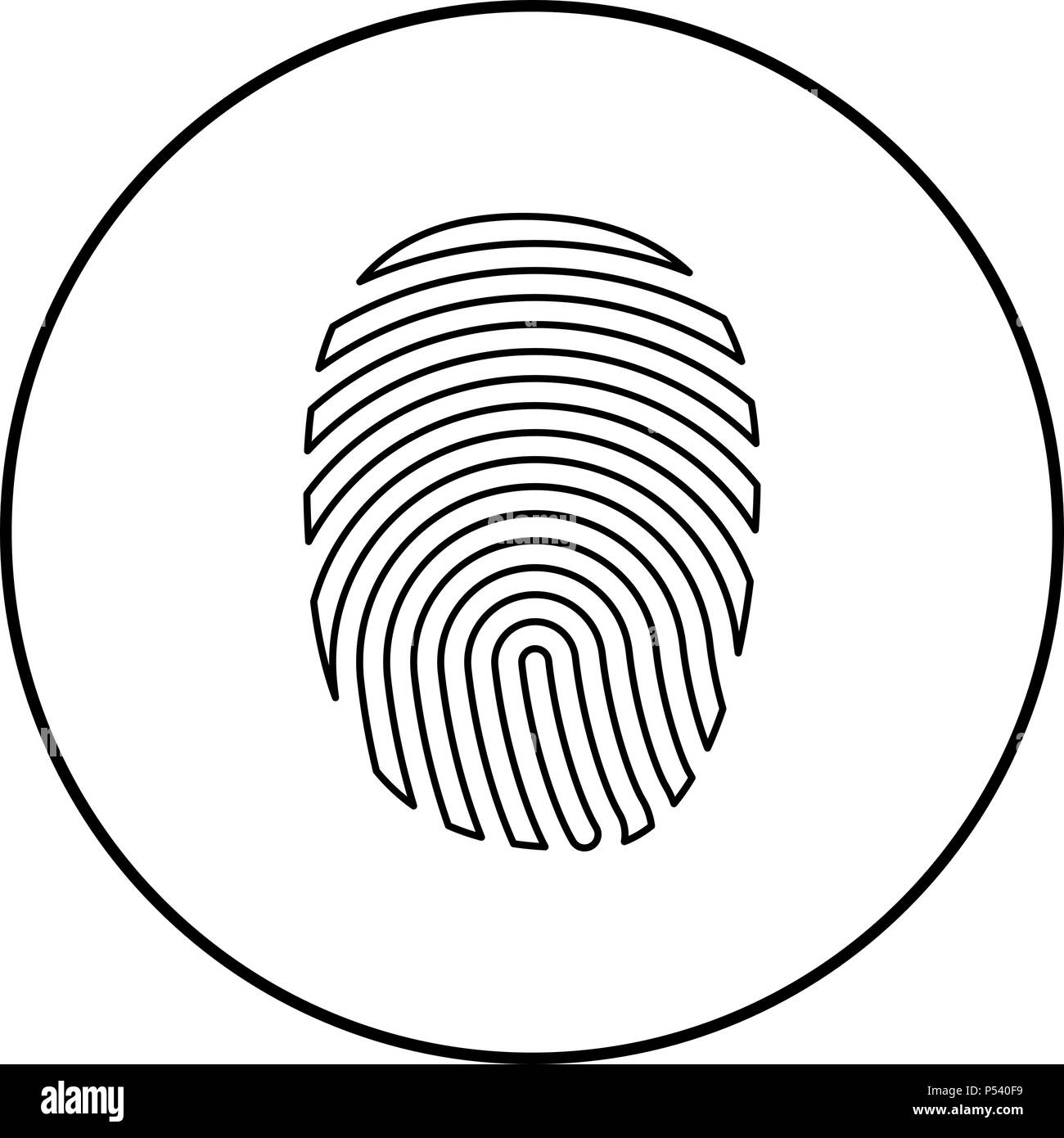 Fingerprint icon black color in circle round outline - Stock Image