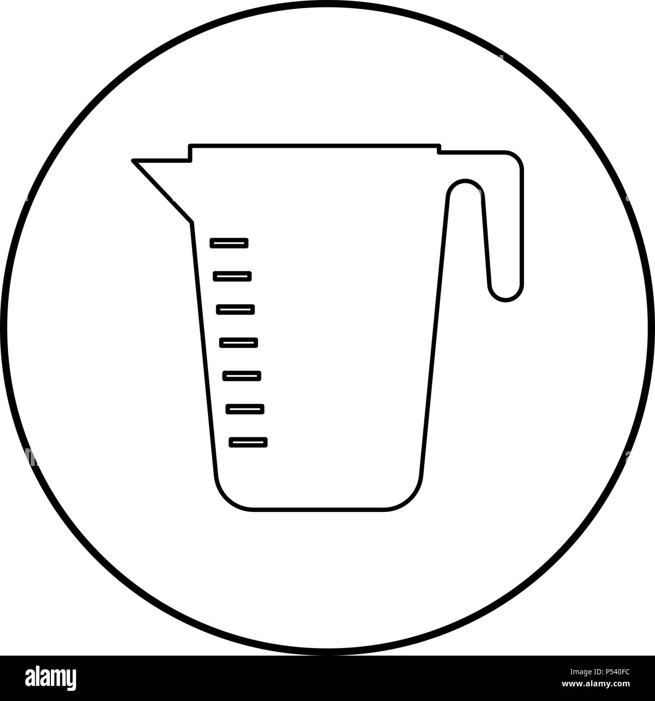 Measuring capacity cup icon black color in circle round outline - Stock Vector