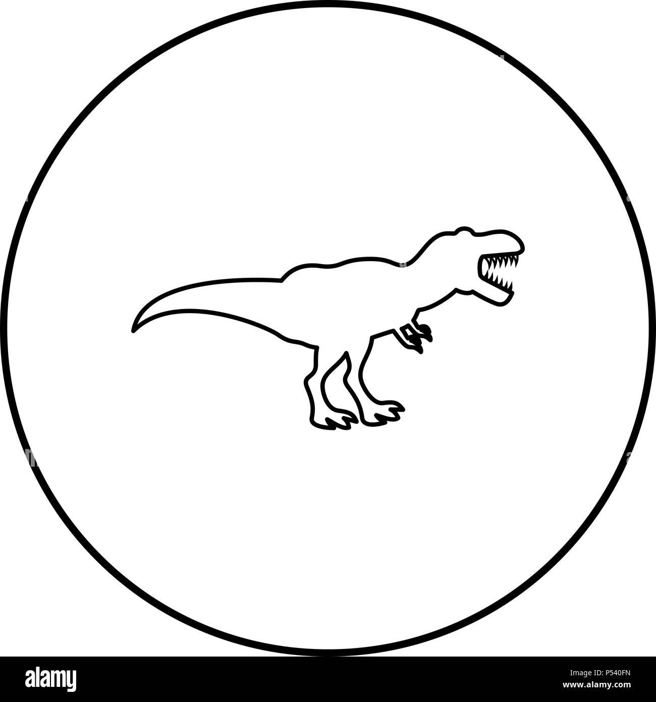 Dinosaur tyrannosaurus t rex icon black color in circle round outline - Stock Image
