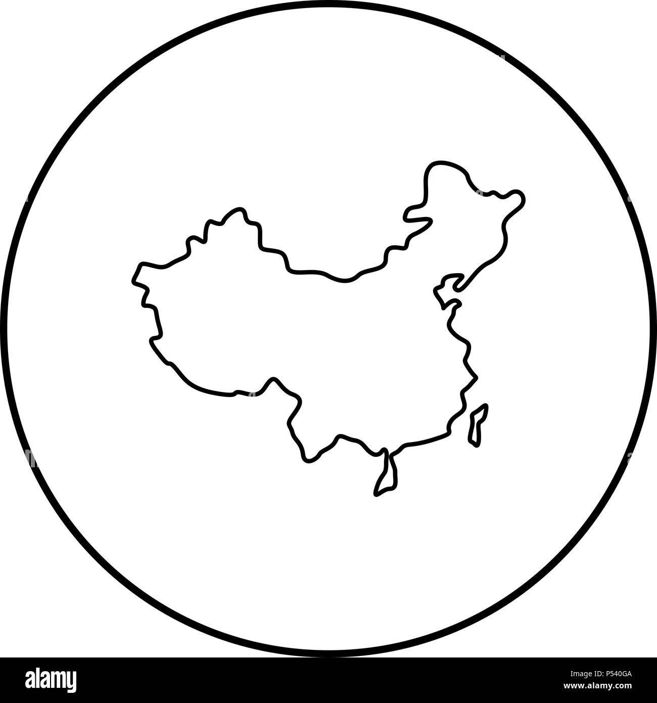 Map of China icon black color in circle round outline Stock Vector ...