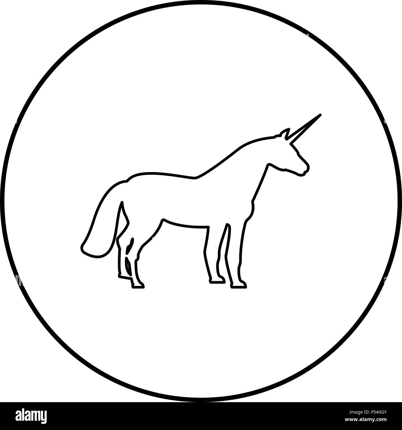 Unicorn icon black color in circle round outline - Stock Vector