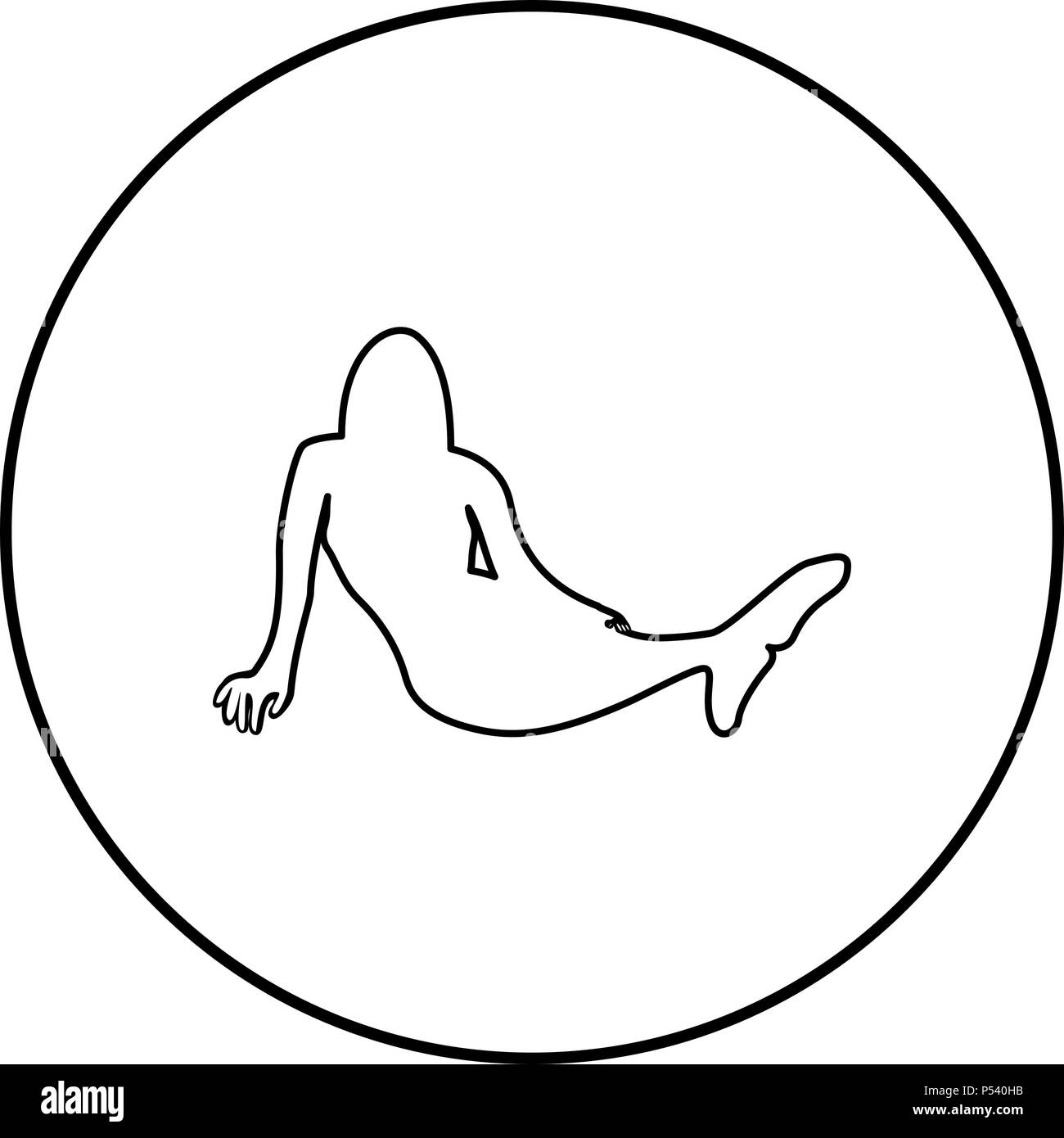 Mermaid Icon Black Color In Circle Round Outline   Stock Image