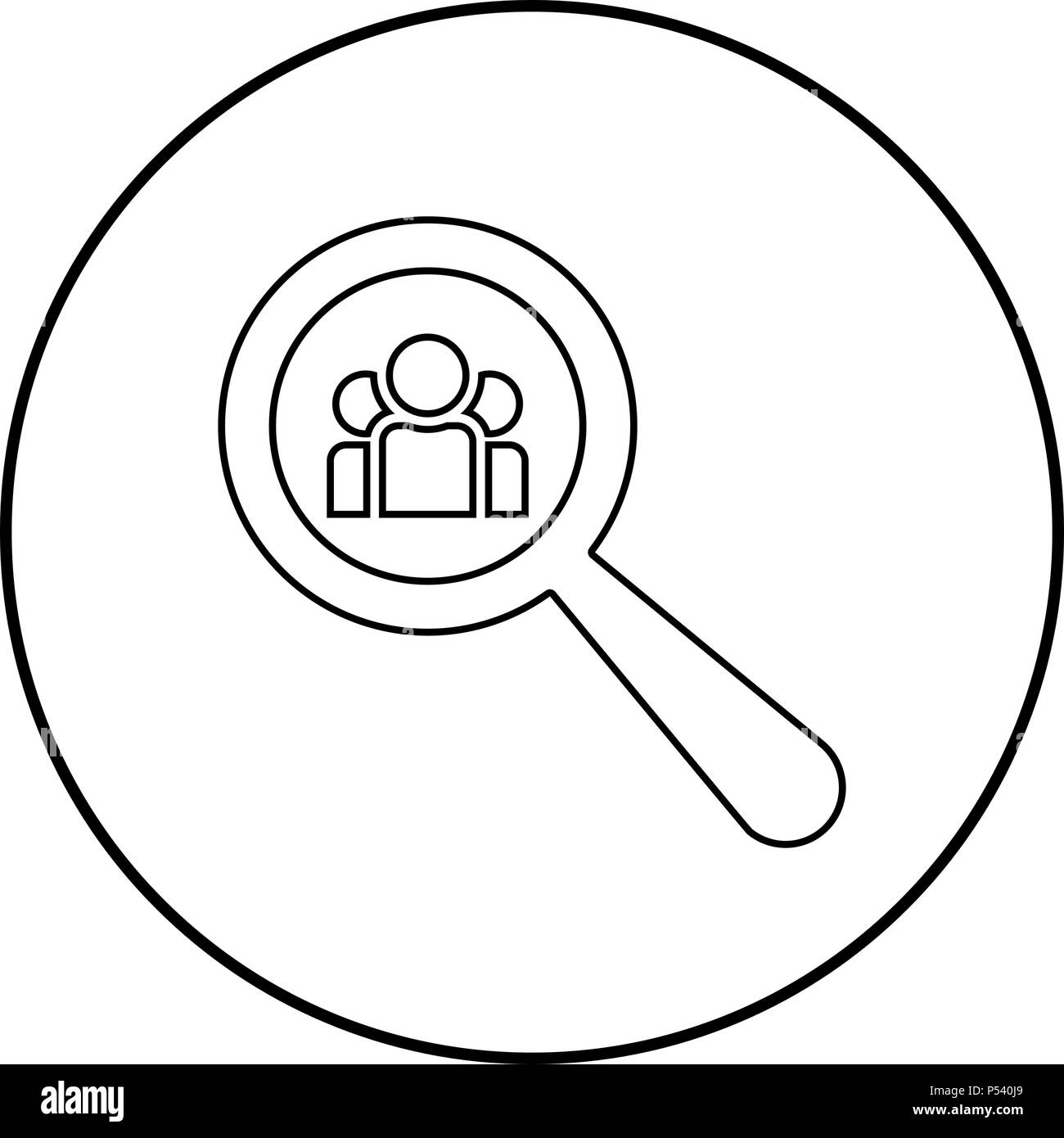 People search icon black color in circle round outline - Stock Vector