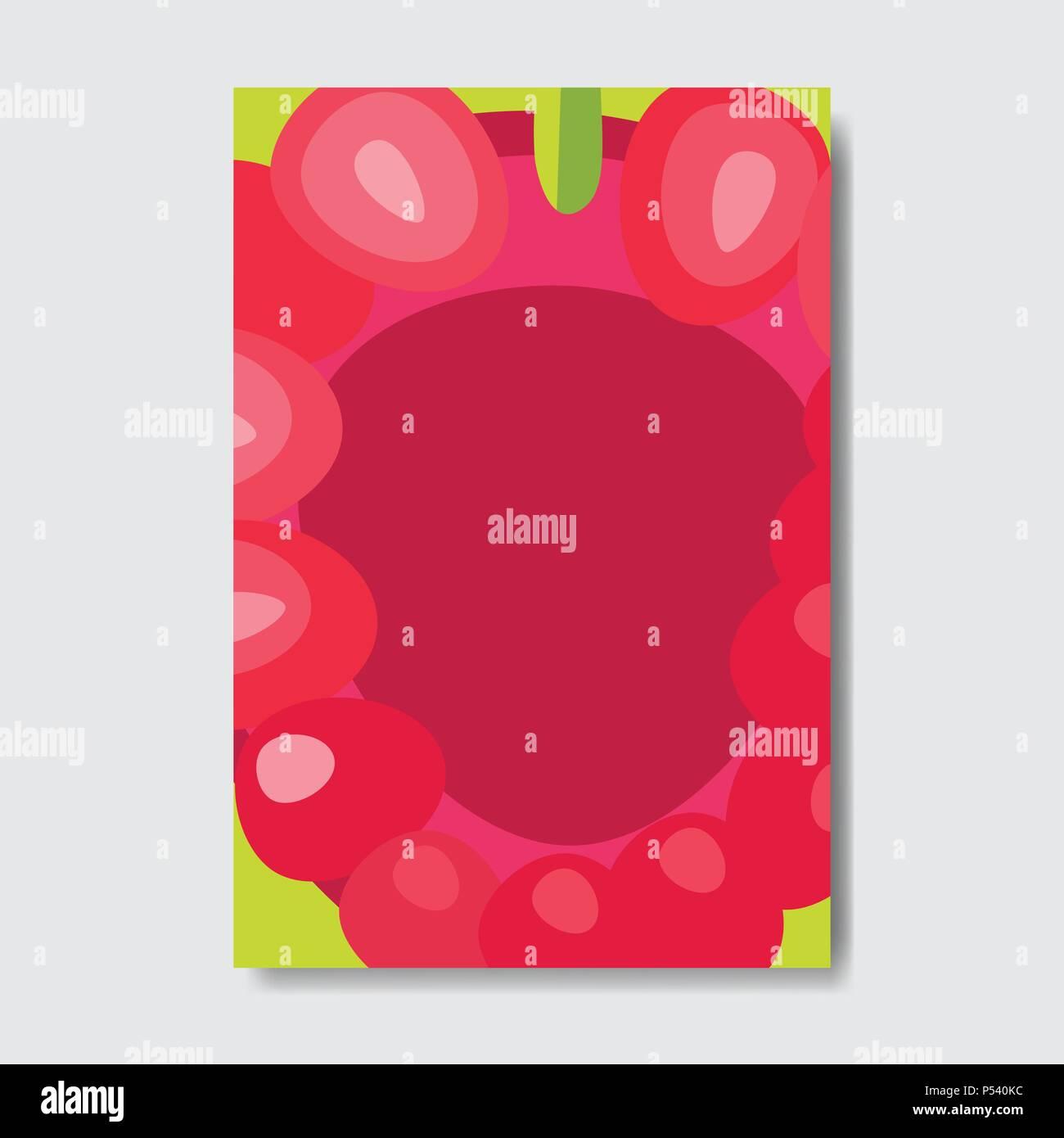 cut raspberry template card, slice fresh fruit poster on