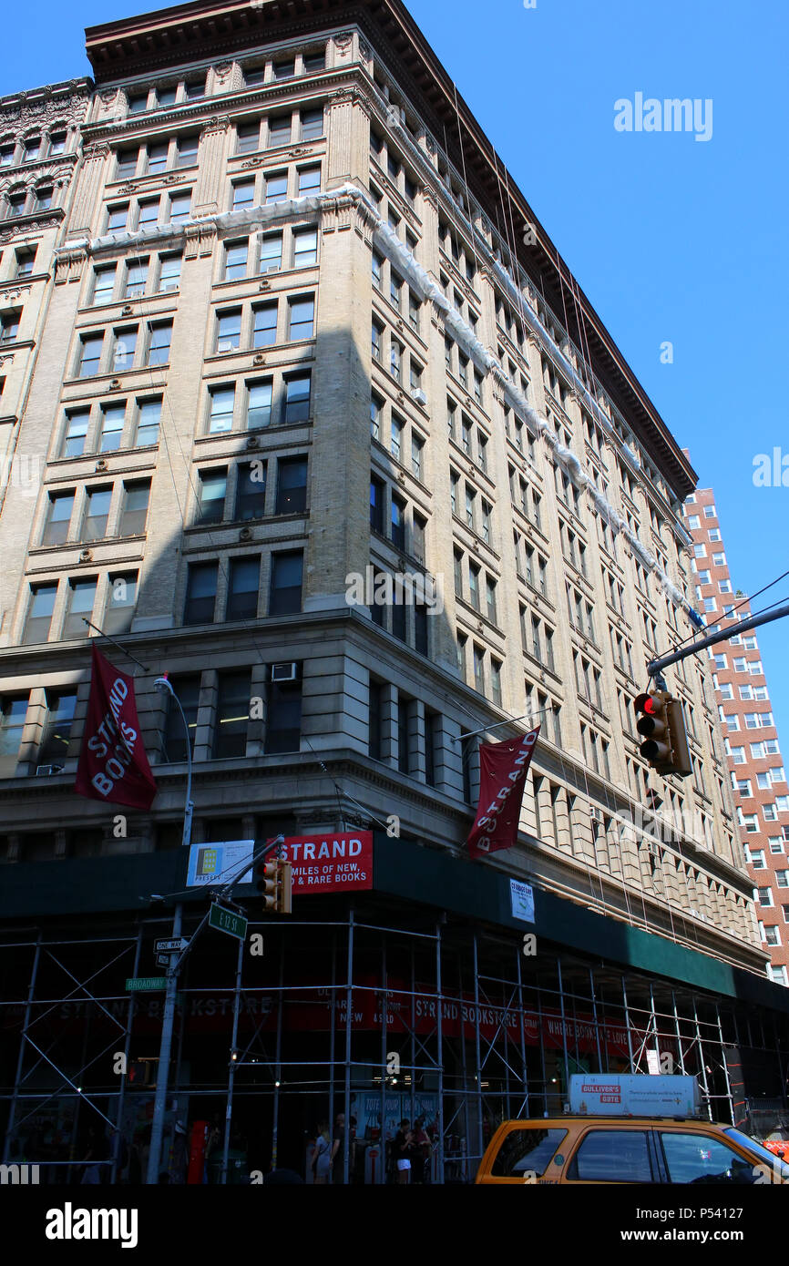 NEW YORK, NY - JULY 5: Strand Bookstore, known for its '18 miles of books' slogan, is the New York's most well know independent bookstore. Manhattan o - Stock Image