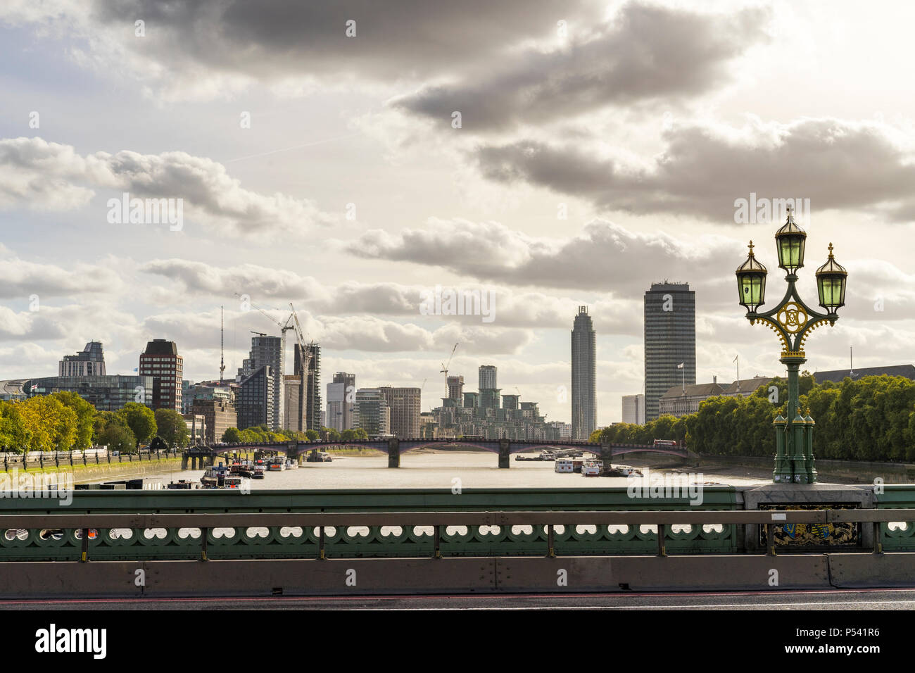 London Great Britain, October 12 2017, Sunny autumn day in the beautiful city, Nice architecture of buildings and bridges - Stock Image