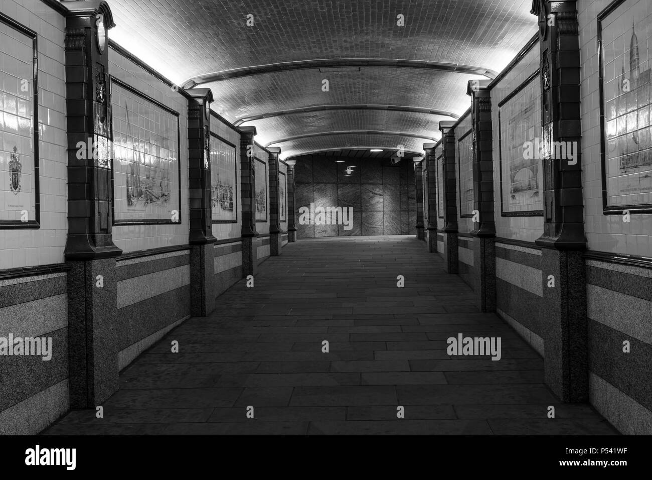 London Great Britain, October 12 2017, Empty tunnel at night,  Nice black and white image of architecture in the city - Stock Image