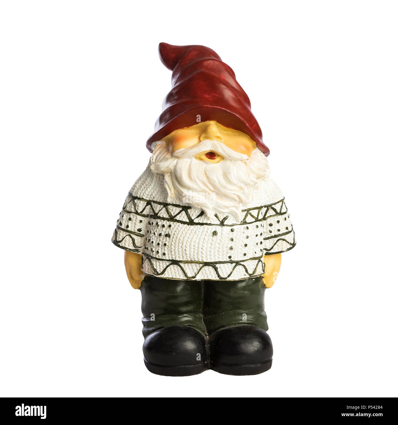 Santa Claus statue on white background. Nice christmas decoration. Male old man with white beard and red hat. Funny kind guy. - Stock Image