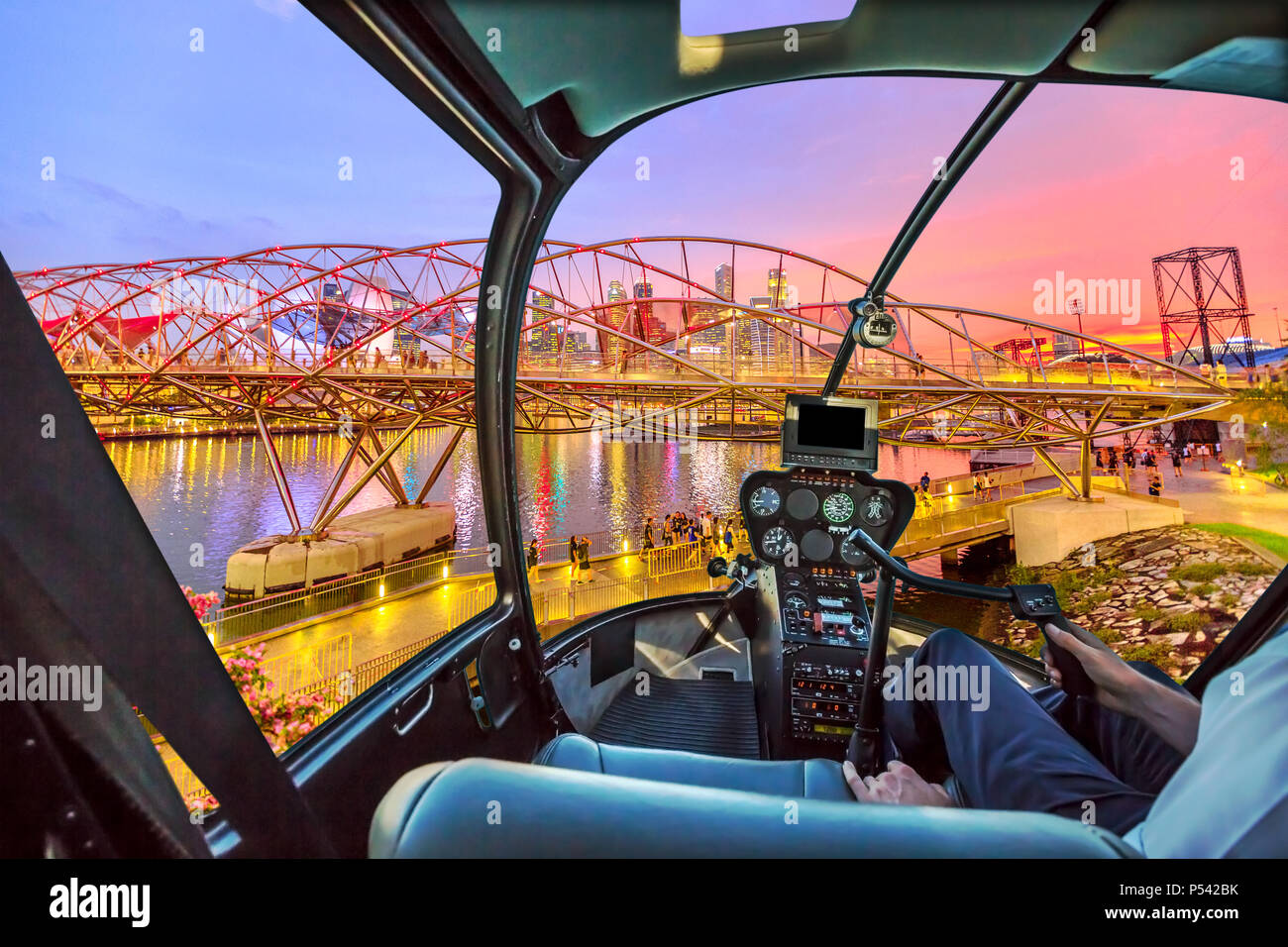 helicopter cockpit interior flying on singapore cityscape in rh alamy com