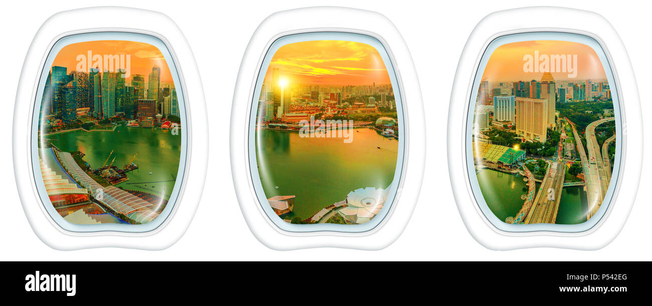 porthole frame windows on Panorama of Singapore marina bay financial district skyscrapers at sunset, reflected on the harbor. Singapore cityscape aerial view with white background copy space. - Stock Image