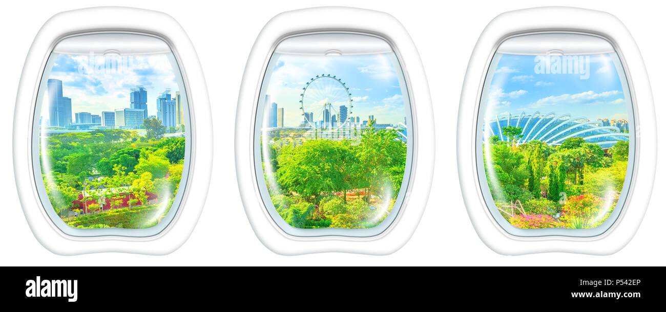 Three porthole frame windows on Aerial view of cityscape Singapore and gardens by the bay. Famous tourist attraction in marina bay area, Singapore. copy space on white background. - Stock Image