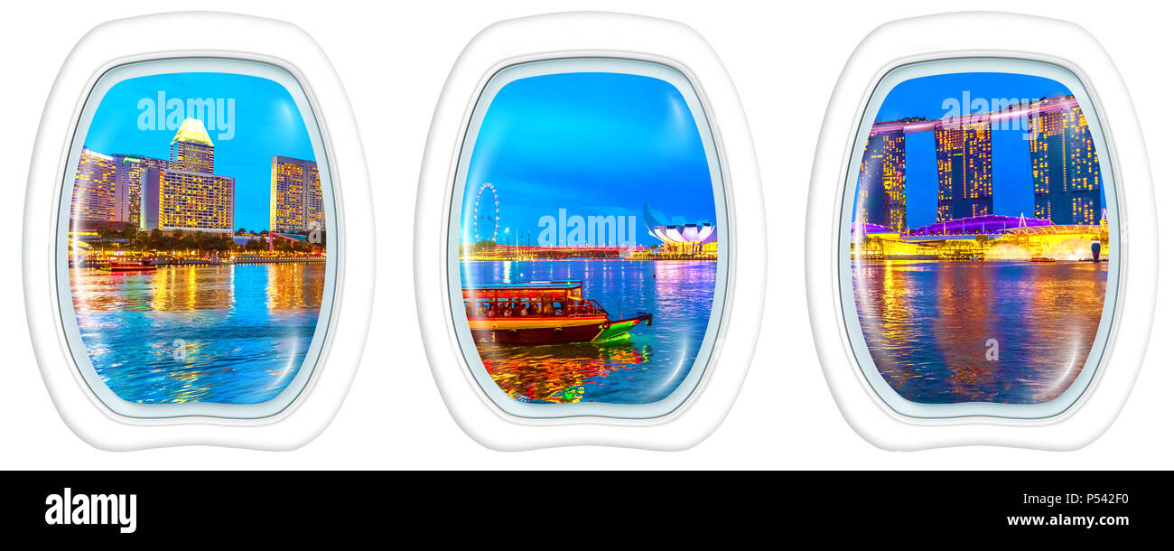 Three porthole frame windows on Panorama of Singapore buildings, skyscrapers and ferris wheel reflected in sea, night tourist boat. Singapore skyline at blue hour in marina bay. copy space on white. - Stock Image