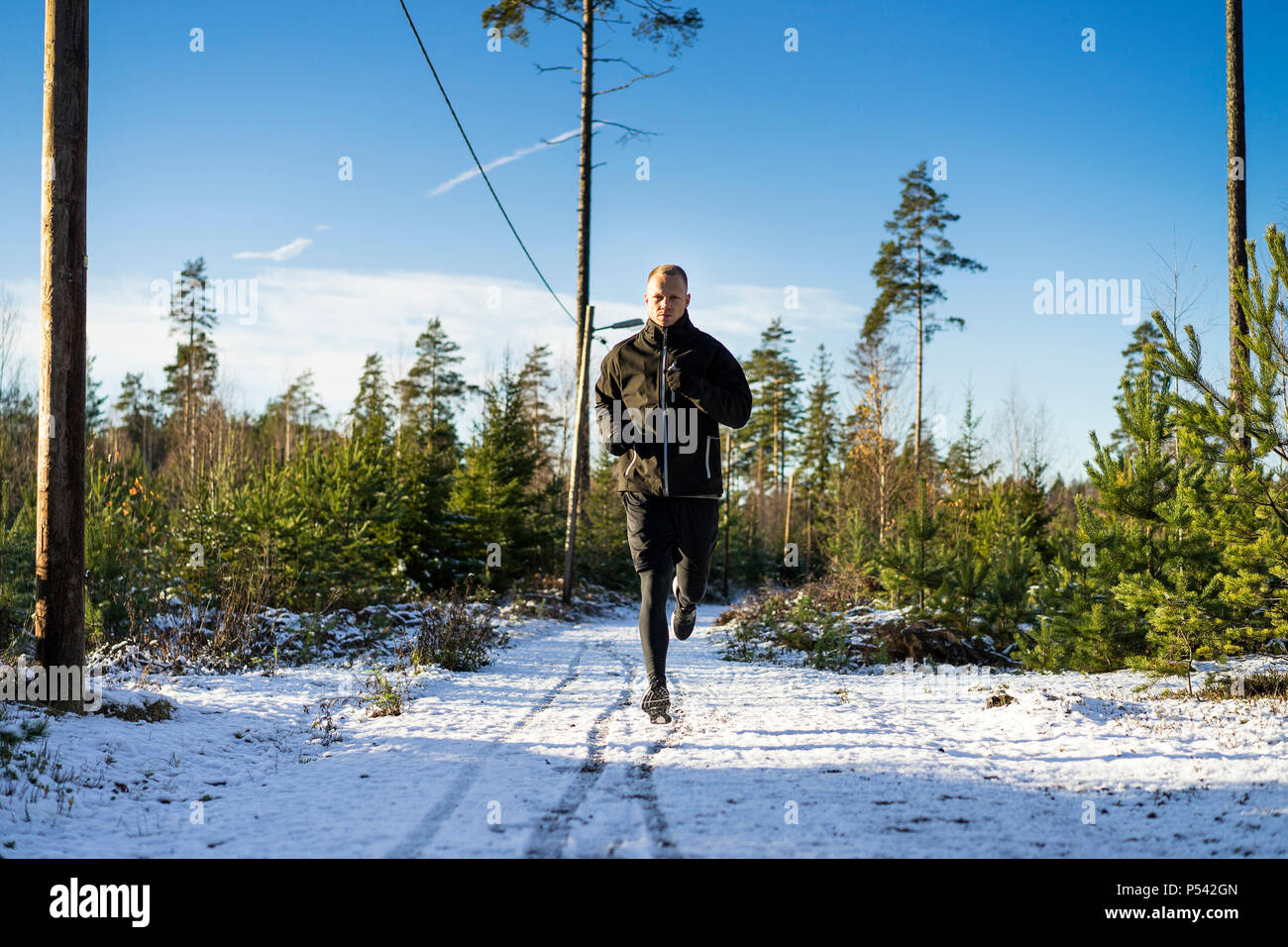 Male caucasian middle age boxer running outside in nature. Nice sunny winter day in the forest with blue sky. Wearing black sport clothes, shorts - Stock Image