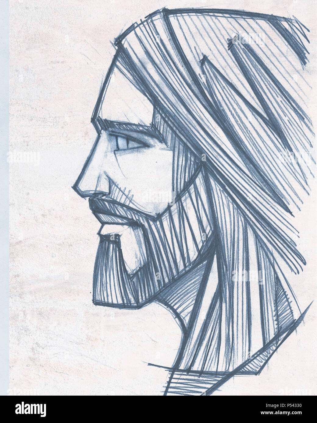 Hand drawn pencil illustration or drawing of jesus christ face stock image