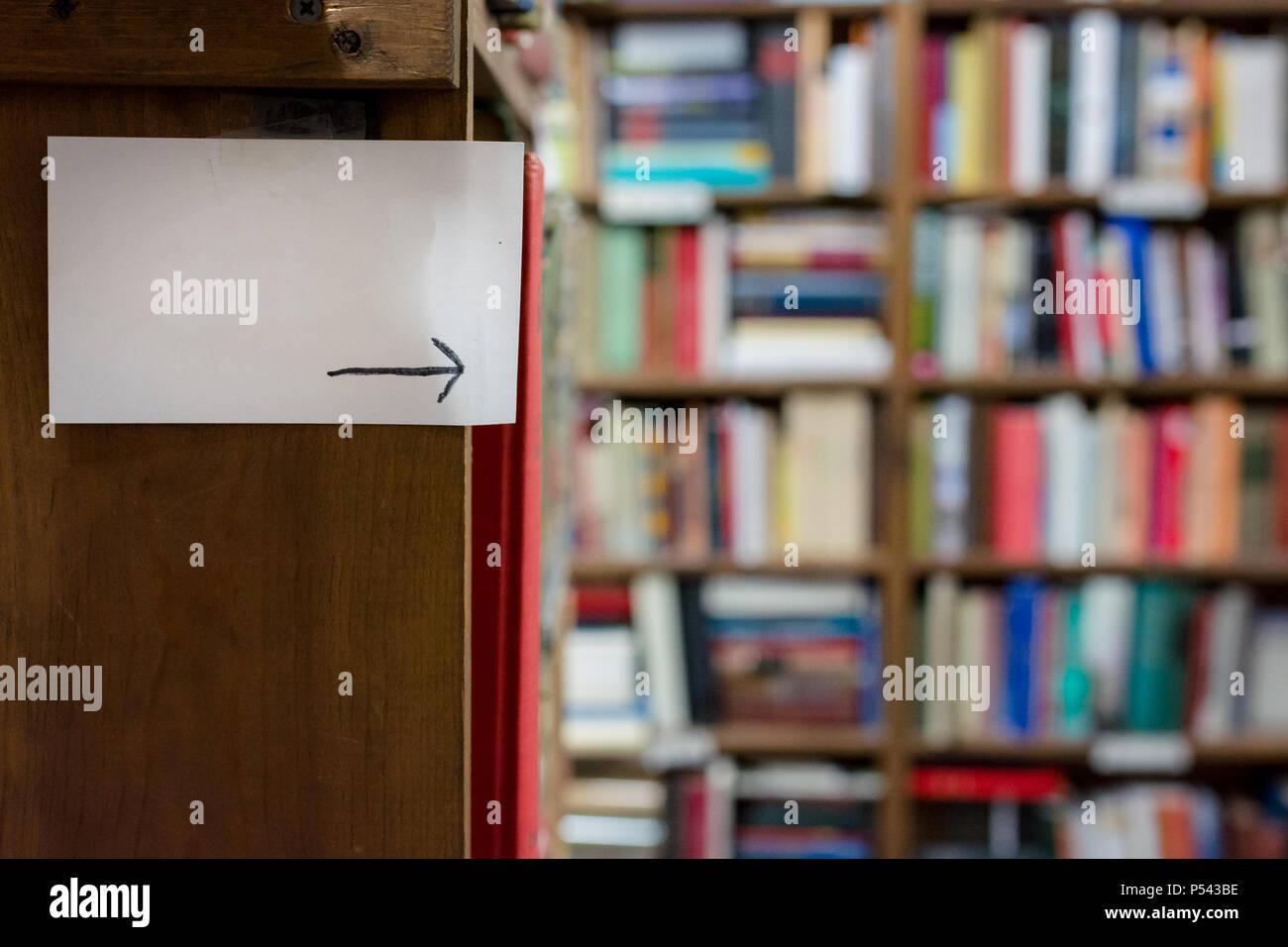 Book shelf sign - Stock Image