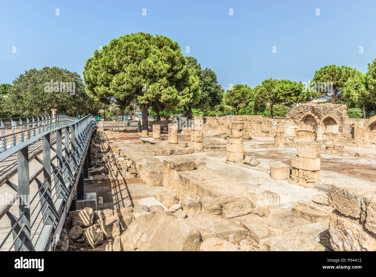 Ancient Roman ruins in the archaeological park of Paphos, Cyprus. Stock Photo