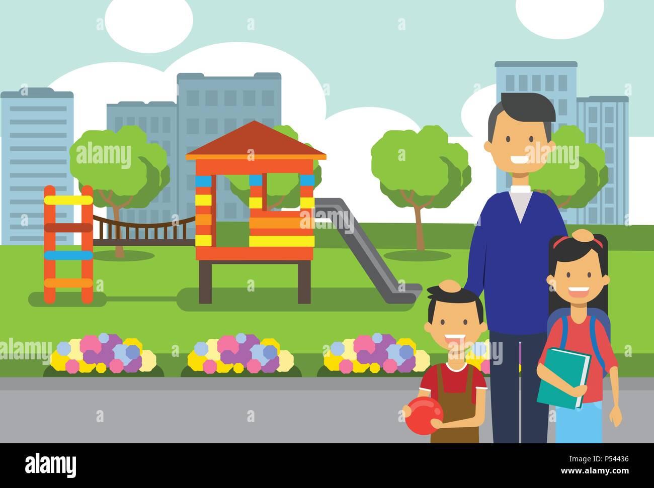 father daughter son portrait avatar city park children
